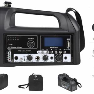 בידורית ניידת TRX Audio X-3000 כולל מדונה אלחוטית UHF או מיקרופון